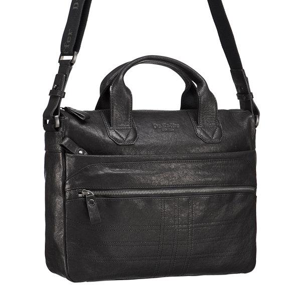 048d3c27d0fb Сумка деловая со съемным ремнем Dr.koffer M402335-98-04 Черная сумка из